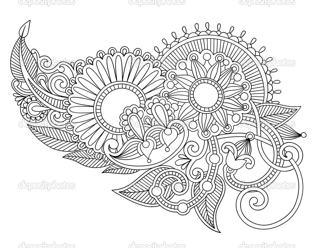 Henna Flowers Coloring Pages